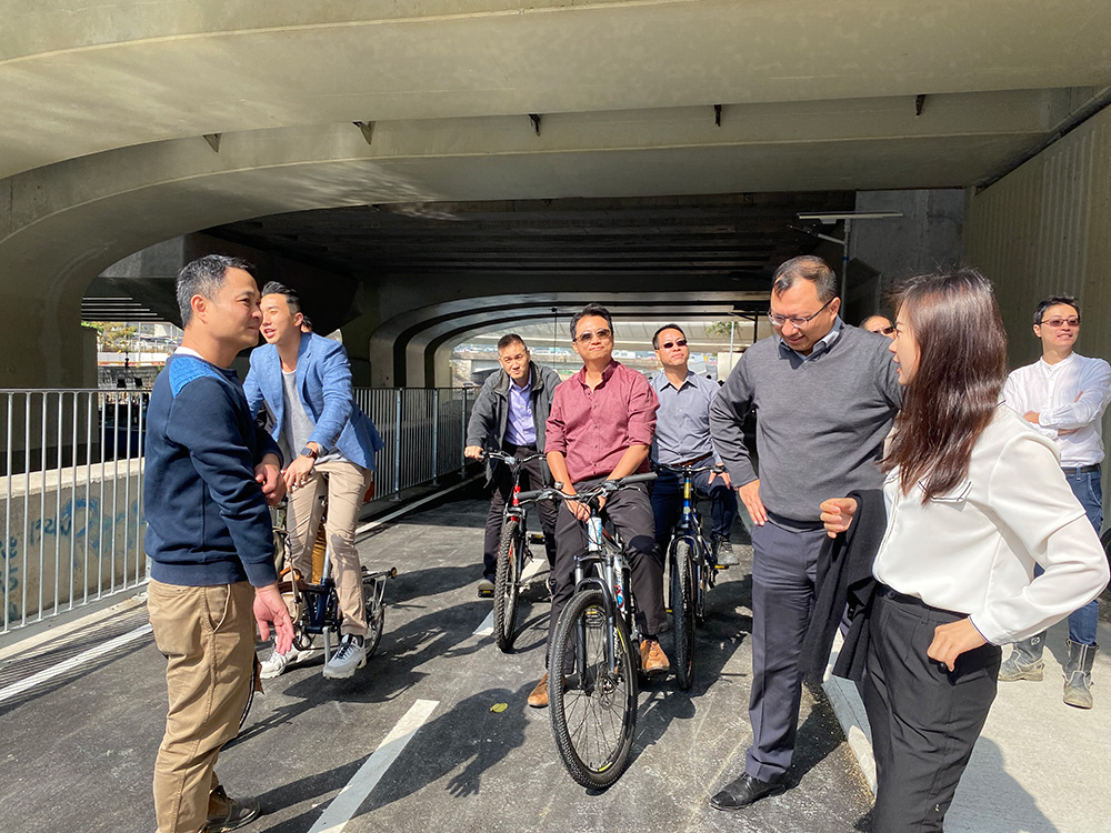 District Council Members visited the newly opened Temporary Footpath and Cycle Track on 15 Jan 2020