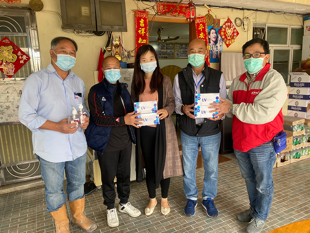 Donation of surgical mask and hand sanitizer to villagers on 3 Mar 2020