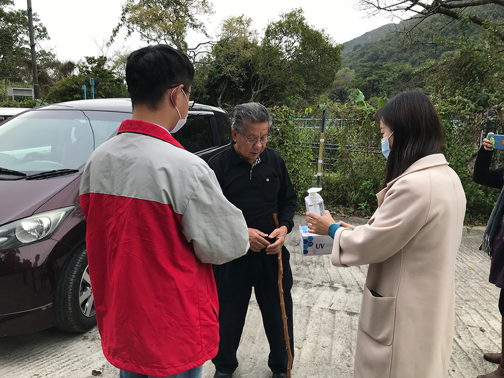 Donation of surgical mask and hand sanitizer to nearby villagers on 6 Mar 2020